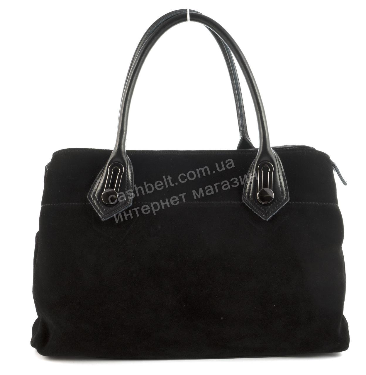 Стильная полностью замшевая прочная женская сумка с натурального замша art.  506 черная Турция - Ремешок ae992ab06a7