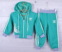"""Утепленный спортивный костюм на флисе """"Adidas"""". 1-2-3 года. Мятный. Оптом"""
