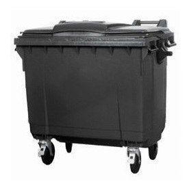 Контейнер для мусора 1100 литров черный пластиковый евростандарт, плоская крышка 1000