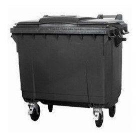 Контейнер для мусора 1100 литров черный пластиковый евростандарт, плоская крышка 1000, фото 2