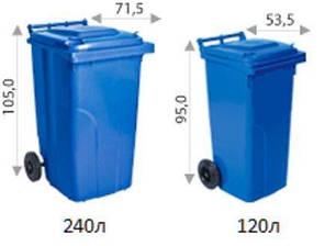 Контейнер для мусора на колесах 120 литров зелёный бак емкость Тип А 100 150, фото 2