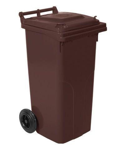 Контейнер для мусора на колесах 120 литров коричневый бак емкость Тип А 100 150