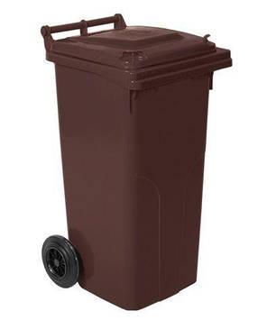 Контейнер для мусора на колесах 120 литров коричневый бак емкость Тип А 100 150, фото 2