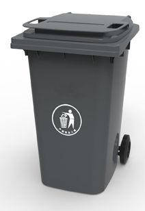 Контейнер для мусора 360 литров бак на колесах черный емкость 300 350 400, фото 2
