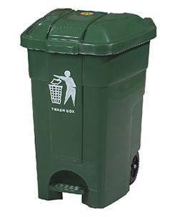 Контейнер для мусора с педалью на колесах 70 литров зелёный бак емкость 100, фото 2
