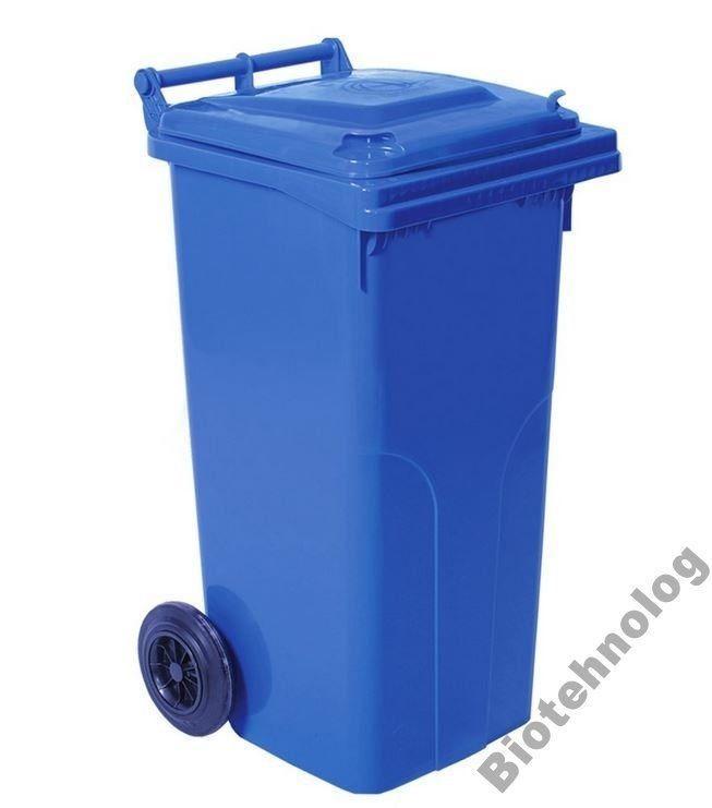 Контейнер для мусора на колесах 120 литров синий бак емкость Тип А 100 150