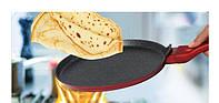 Сковорода блинная 25cм красный металик мраморное покрытие, фото 1