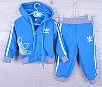 """Утепленный спортивный костюм на флисе """"Adidas"""". 1-2-3 года. Электрик. Оптом"""