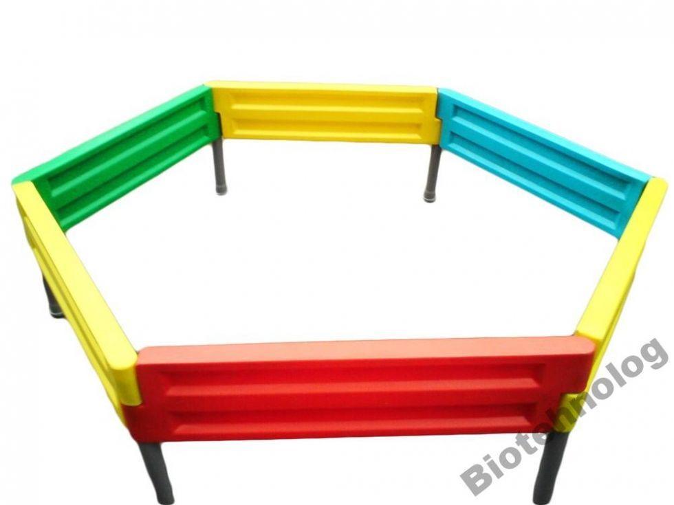 Пісочниця на шість боковин для дитячого майданчика будь-якої форми