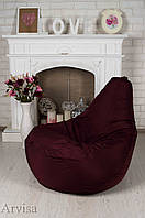 Кресло мешок груша 120x75, водонепроницаемая ткань бордовое