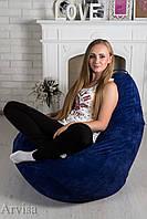 Кресло груша мешок флок 120х75 синее