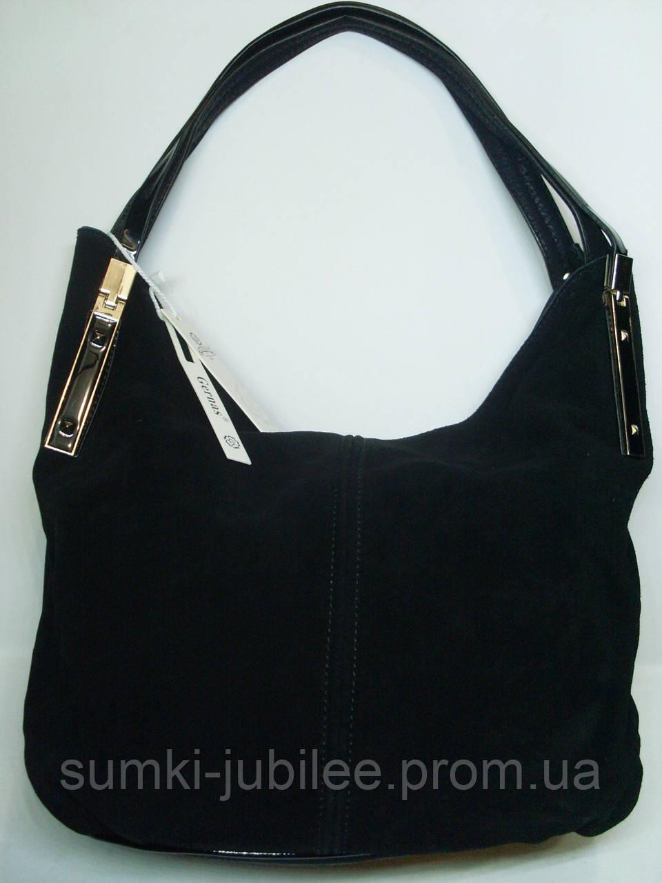 de8ec421da5d Женская замшевая сумка Gernas, черный цвет - Интернет-магазин