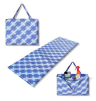 "Коврик-сумка ""HOLIDAY"" на молнии, синий узор, 1048-bl"