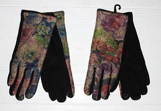 Интересные, модные, чёрные женские перчатки с красивым цветочным принтом