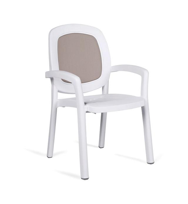 Кресло садовое BETA белое, серое, бежевый текстилен