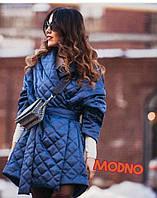 Универсальное женское пальто на запах в стиле oversize (стеганный атлас, шалевый воротник, пояс) РАЗНЫЕ ЦВЕТА