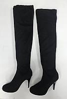 Черные ботфорты-чулки, фото 1
