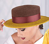 Фетровая шляпа канотье с прямыми полями 7см цвет черный, фото 2