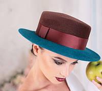 Шляпа фетровая канотье с полями цвет коричневый с ярко синим