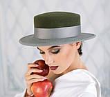 Фетровая шляпа канотье с прямыми полями 7см цвет черный, фото 4