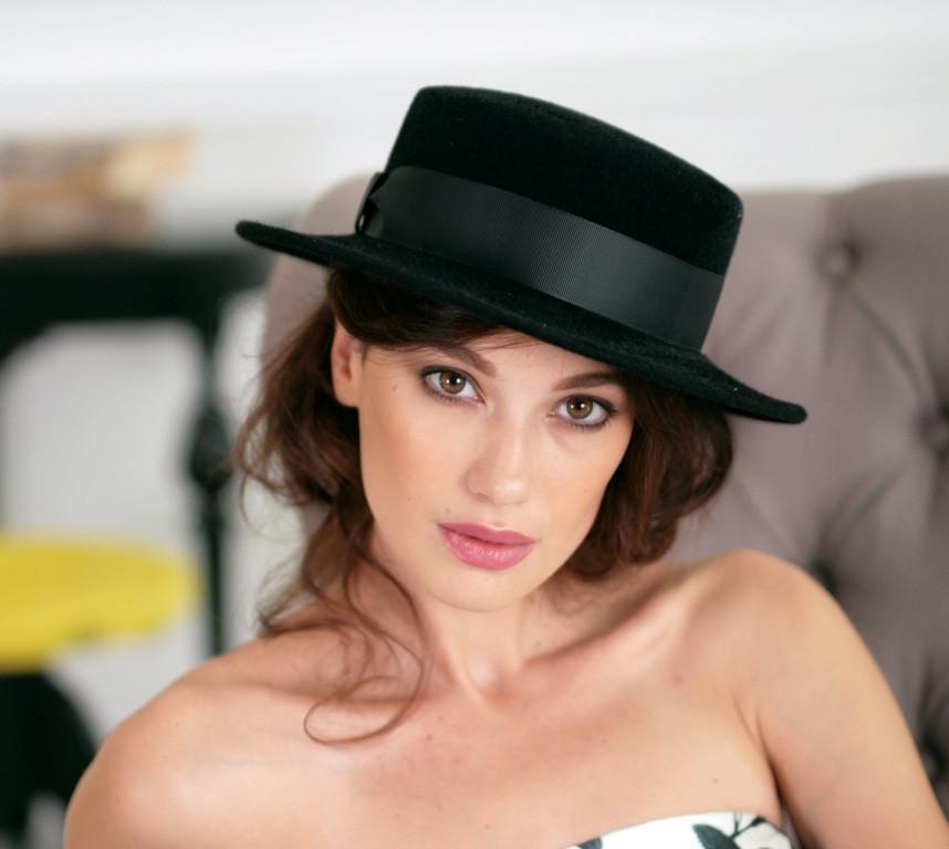 Фетровая шляпа канотье с прямыми полями 7см цвет черный