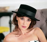 Фетровая шляпа канотье с прямыми полями цвет черный
