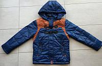 Детская куртка ветровка прямая на мальчика 8,9,10,11,12 лет 128-152 см. Демисезонная. Синяя