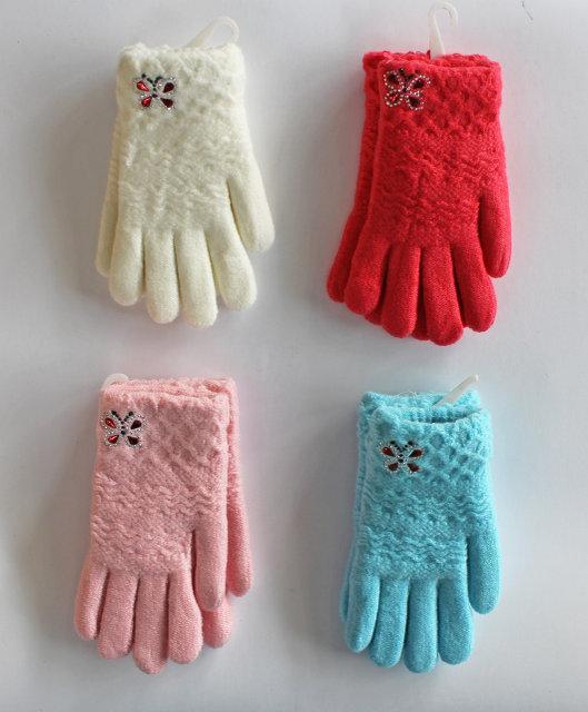 Детские теплые красивые вязанные перчатки рукавички украшеные декоративной бабочкой