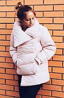 Зимняя куртка. Холлофайбер. Пудра и черная. 44-50 размеры. Код-13