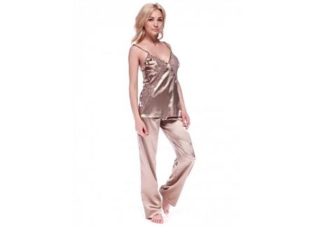 Шелковый комплект пижама с брюками Serenade, арт. 453, цвет перец