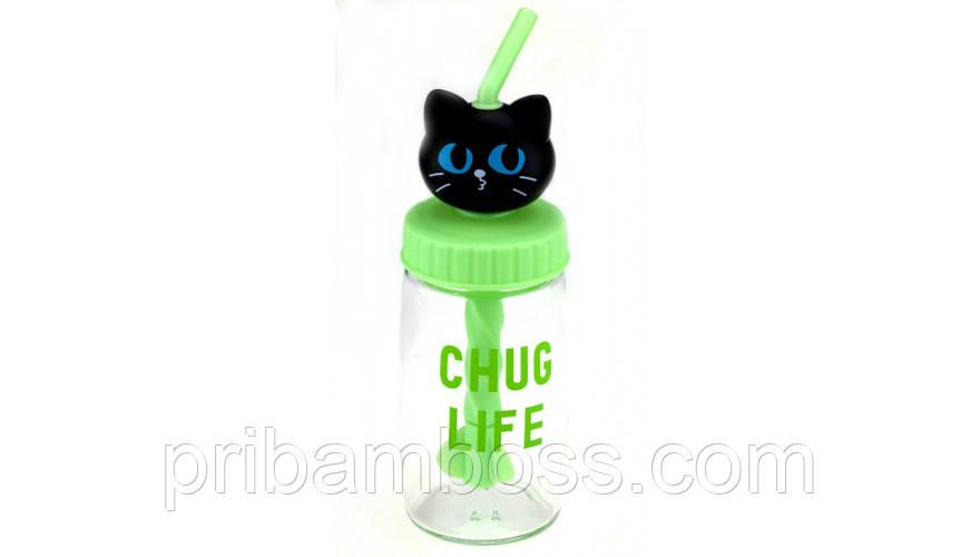 Бутылка Кошка с трубочкой - миксером,4 вида