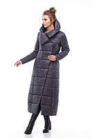 Женское стеганное зимнее пальто на синтепухе длинное, размеры 42-54