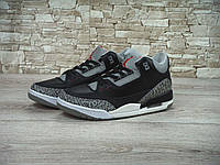 Мужские баскетбольные кроссовки Nike Air Jordan 3 Retro Black/Grey, фото 1