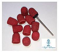 Насадка наждачная колпачок для фрезера маникюр педикюр, набор 11шт+ насадка для колпачка красная