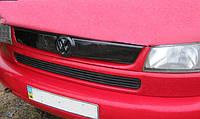 """Зимняя накладка (глянцевая) Volkswagen T4 1998-2003 """"косые фары"""" (верх реш)"""