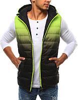 Жилет мужской двухсторонний с капюшоном зеленый лайм-черный  М Cricetti