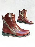 Натуральные кожаные полусапожки  Бордовый, 39