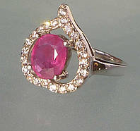 Кольцо с натуральным рубином Сердечко Размер 17.35