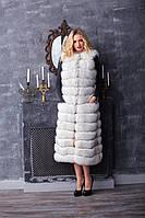Жилет из меха финского песца белая с воротом Шанель