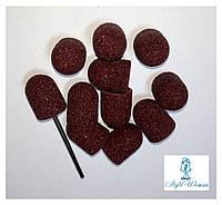 Насадка наждачная колпачок для фрезера маникюр педикюр, набор 11шт+ насадка для колпачка