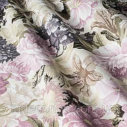 Ткань для штор поляна цветов Пионы