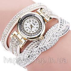 Женские часы со стразами на длинном ремешке (Белые)