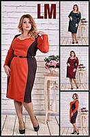 Р52,54,56,58,60 Модное женское платье батал 770611 приталенное весеннее яркое осеннее на работу в офис большое