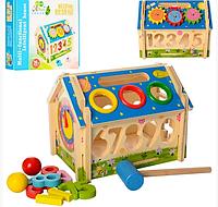Деревянная игрушка Игра- домик, сортер (цифры), стучалка