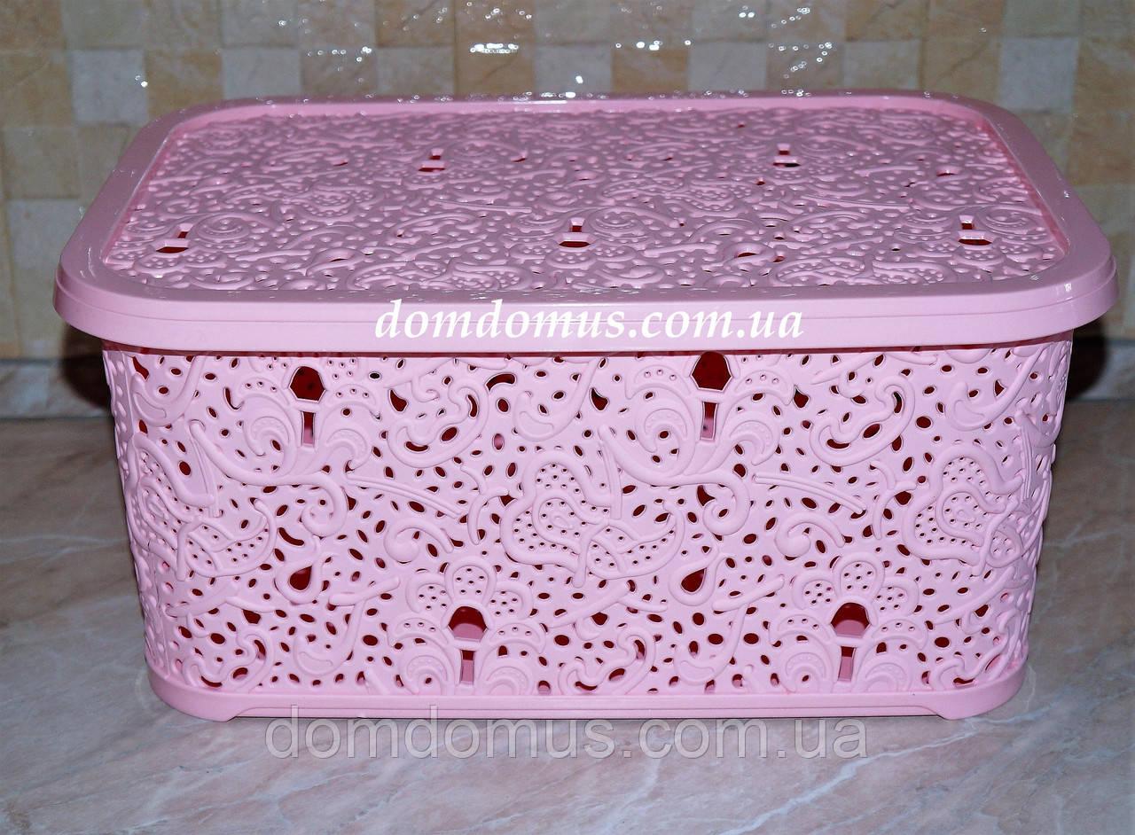 """Корзина """"Ажур"""" Elif Plastik 6 л, Туреччина, рожева"""