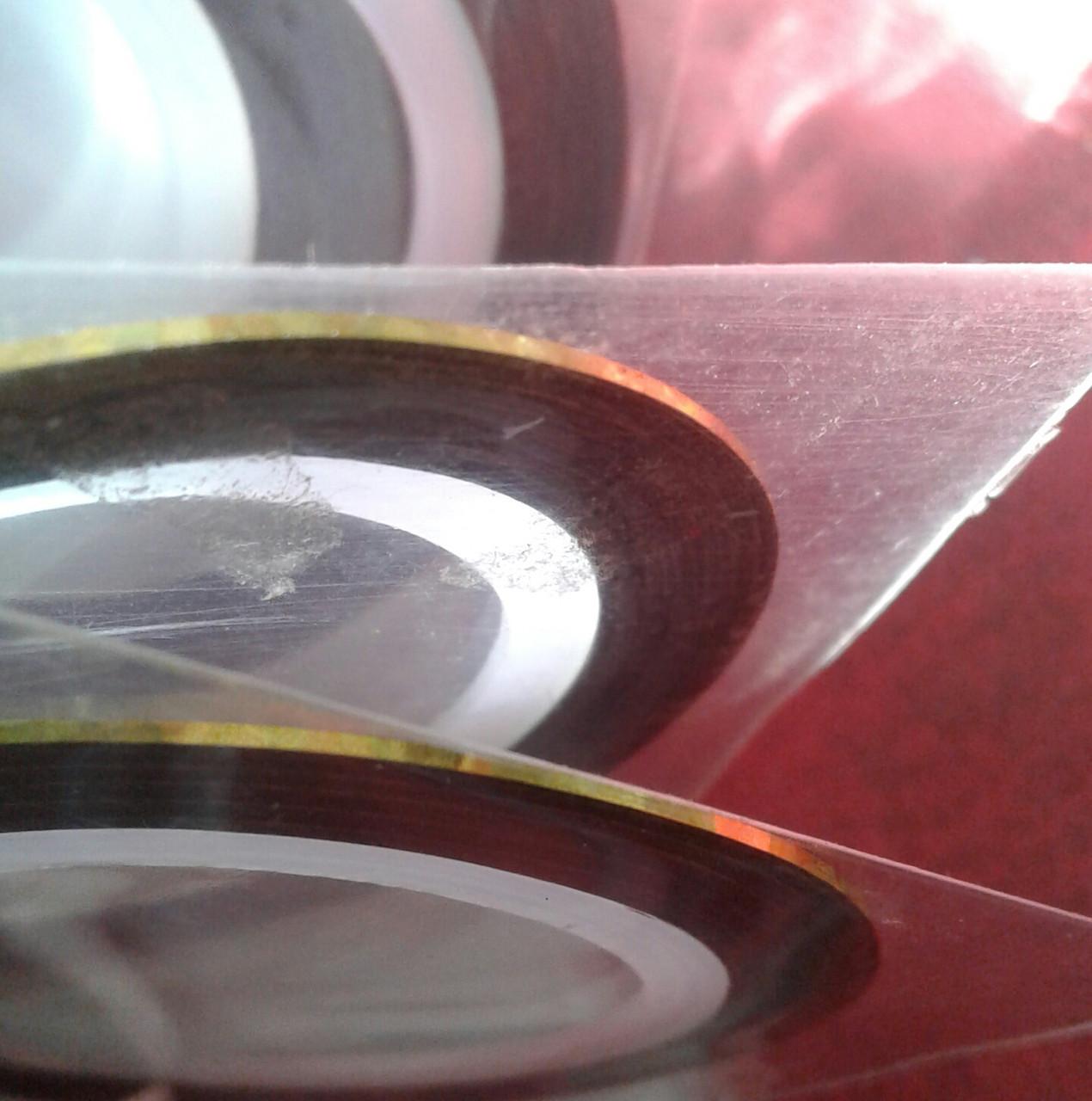 Лента самоклеящаяся для дизайна ногтей тонкая золото голография  - RIJAR в Запорожье