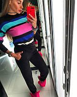 Женский теплый спортивный костюм в полоску