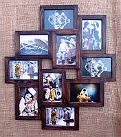 Деревянная эко мультирамка, коллаж #310 тёмный орех, венге, белый, чёрный., фото 1