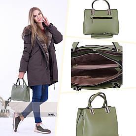 Жіноча шкіряна сумочка кольору хакі | АКЦІЯ