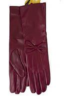 Бордовые  перчатки из качественной кожи козы